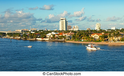 Ft. Lauderdale, Florida - The intracoastal waterway that...