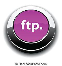 ftp, 活気に満ちた, 金属, icon., ラウンド, 3d