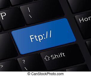 FTP button on keyboard. FTP download concept .