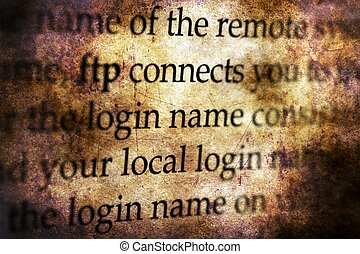 FTP connect grunge concept grunge concept