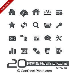 ftp, &, hosting, ícones, //, básico, serie