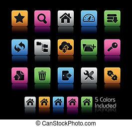 ftp, &, hosting, ícones, //, cor, caixa