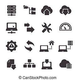 ftp, &, hosting, ícones