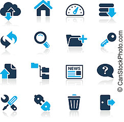 ftp, &, hosting, icone, //, azzurro, serie