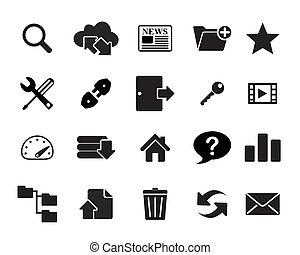 ftp, illustra, &, ícones, hosting, vetorial
