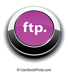 FTP metallic 3d vibrant round icon.