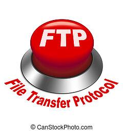 ftp, protocolo, ), transferência, botão, ilustração, arquivo...
