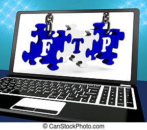 ftp, raadsel, op, draagbare computer, optredens, archief, uitzending