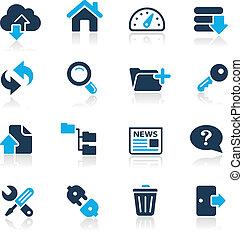 //, ftp, &, serie, icone, hosting, azzurro