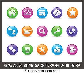 ftp, y, hosting, iconos, //, arco irirs, seri