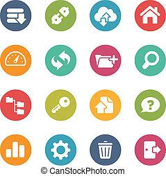 ftp, y, hosting, iconos