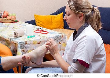 fuß, untersuchen, patient, krankenschwester