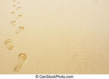 fußabdrücke, sand, hintergrund