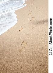 fußabdrücke, sand