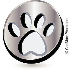 fußabdruck, hund, logo