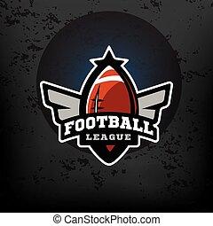 fußball, amerikanische , logo., sport