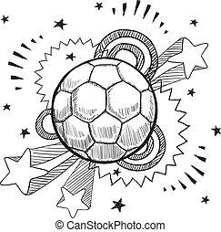 fußball, aufregung, skizze