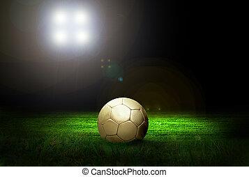 fußball ball, auf, der, feld, von, stadion, mit, licht