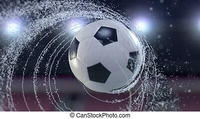 fußball ball, fliegt, ausstrahlen, strudel, von, bewässern...