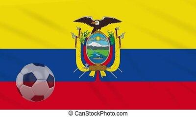 fußball ball, gegen, winkende , tuch, fahne, ekuador, rotiert, hintergrund