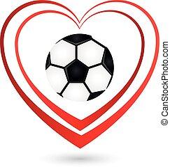 Fußball, Ball, Herz, Logo