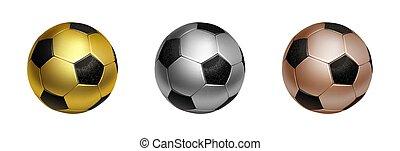 fußball ball, illustration., terz, fußball, freigestellt, drei, sekunde, vektor, bronze, hintergrund, weißes, gold, auszeichnungen, silber, zuerst