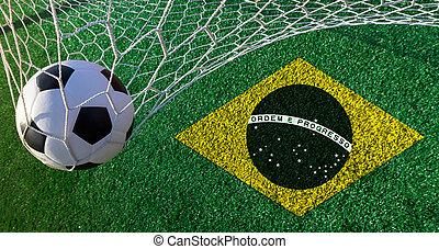 fußball ball, mit, brazil läßt, welt schale, 2014