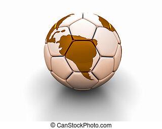 fußball ball, mit, der, bild, von, zubehörteil, von, welt, 3d, render