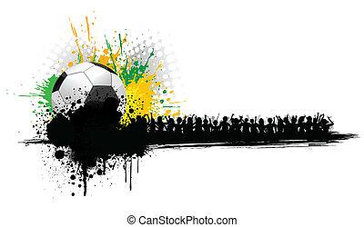 fußball ball, mit, hurrarufen, leute