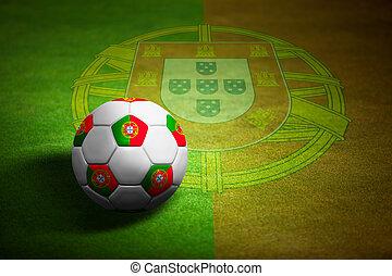 fußball ball, portugal, aus, -, fahne, meisterschaft, euro,...