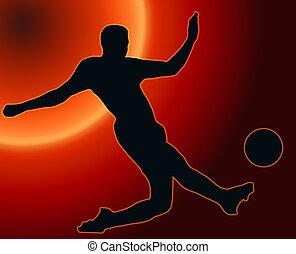 fußball ball, silhouette, spieler, zurück, treten,...