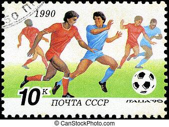 fußball, briefmarke, gedruckt, udssr, reihe, italien, -, shows, becher, players., welt, 1990:, 1990, zirka