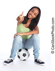 fußball, erfolg, für, glücklich, junger, teenagermädchen
