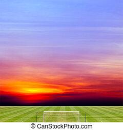 fußball feld, mit, schöne , sonnenuntergang, hintergrund