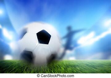 fußball, fußball, match., a, spieler, schießen, kugel, auf, ziel
