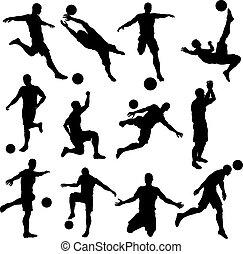 fußball, fußballspieler, silhouetten