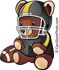 fußball, karikatur, bär, teddy