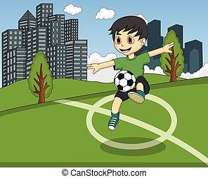fußball, kinder, park, spielende