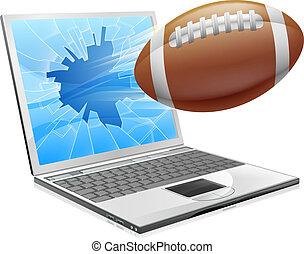 fußball, laptop, begriff