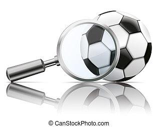 fußball, loupe, spiegel