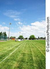 fußball, oder, football feld, in, öffentlicher park