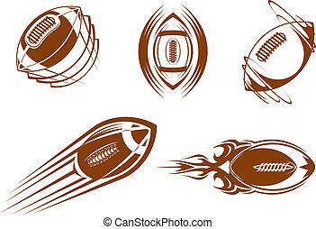 fußball, rugby, maskottchen