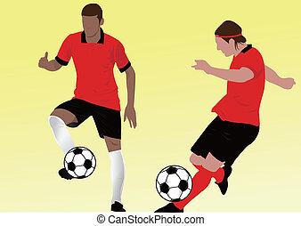 fußball, silhouette