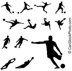 fußball, silhouetten
