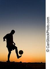 fußball, sonnenuntergang