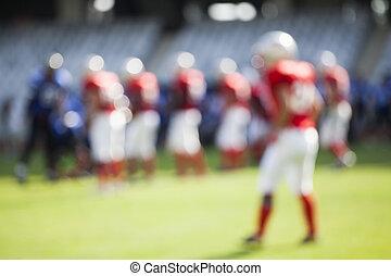 Fußball,  -, spiel, Fokus, amerikanische, hintergrund, heraus