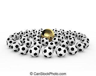 fußball, viele, weiße kugel, gold
