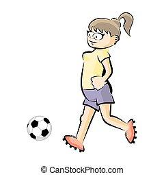 Kugel Freigestellt Spieler Vektor Weibliche Fussball