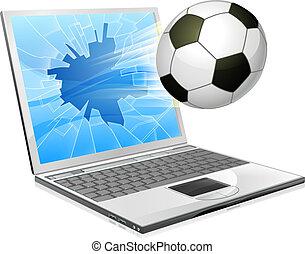 fußballfootball, laptop, begriff