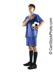 fußballfootball, spieler, junger mann, stehende
